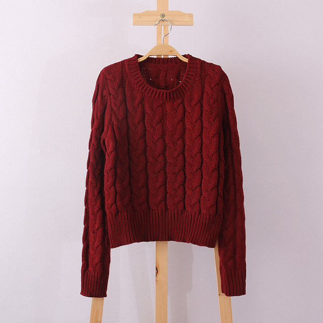 Retro Style Coarse Line Knitting Sweater O-Neck Pullover Short Sweater Women Girl Autumn/Winter With Red Beige Pink Purple Color