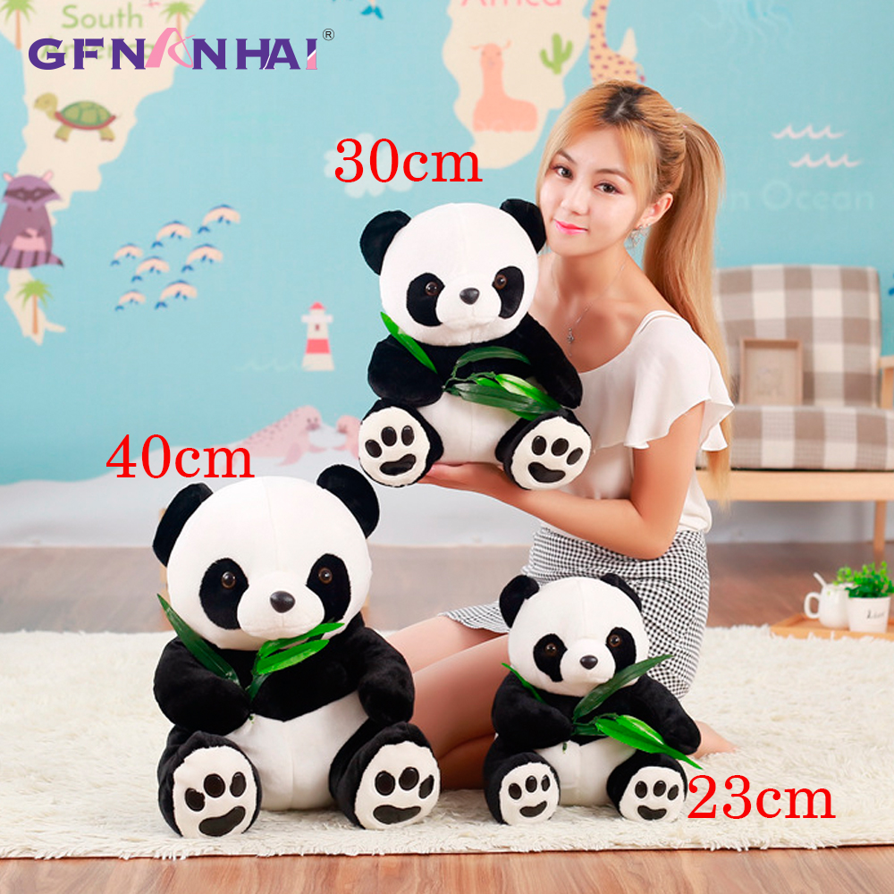 1pc 23/30/40cm large size Cute Panda With Bamboo leaves Plush toy Stuffed soft Animal Panda pillow dolls Lovely Baby Toys