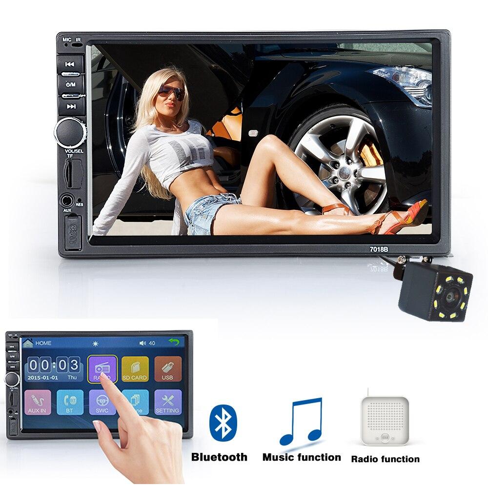 Viecar 2 Din Voiture Radio Bluetooth HD 7 MP5 Lecteur Écran Tactile FM SD USB ISO Puissance Entrée Aux arrière Vue Caméra De Voiture Audio
