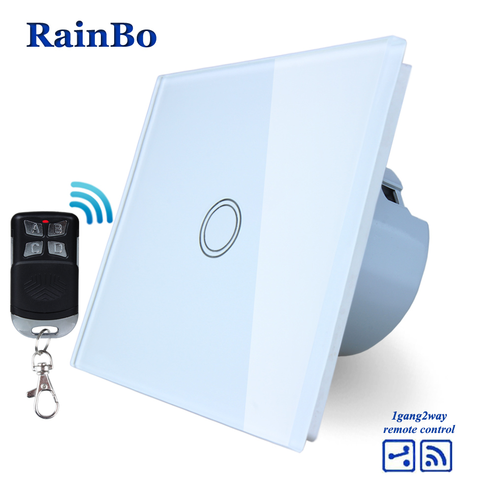 RainBo Crystal Glass Panel Switch EU Wall Switch 110~250V Remote Touch Switch Screen Wall Light Switch 1gang2way  A1914XW/BR01 mvava 3 gang 1 way eu white crystal glass panel wall touch switch wireless remote touch screen light switch with led indicator