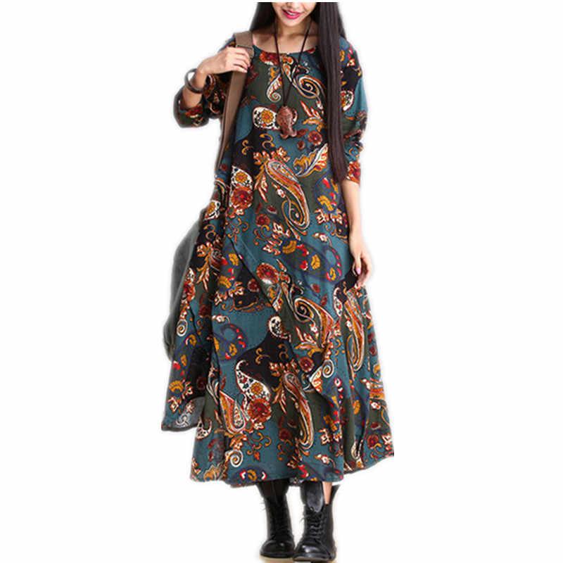 長袖プラスサイズ綿リネンヴィンテージプリント女性カジュアルルース秋のドレスパーティー vestidos エレガントな服 2019 ドレス