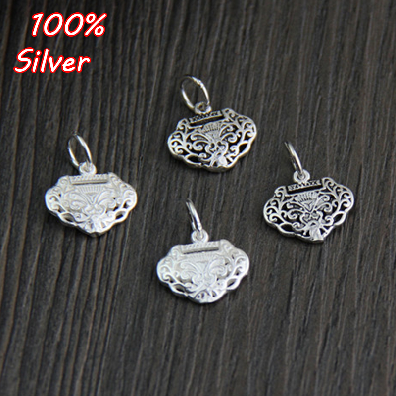 Authentic 925 Sterling Silver Charm Bead Best Wishes Longevity Lock Charms Fit Bracelets & Bangles Pendant DIY Women Jewelry