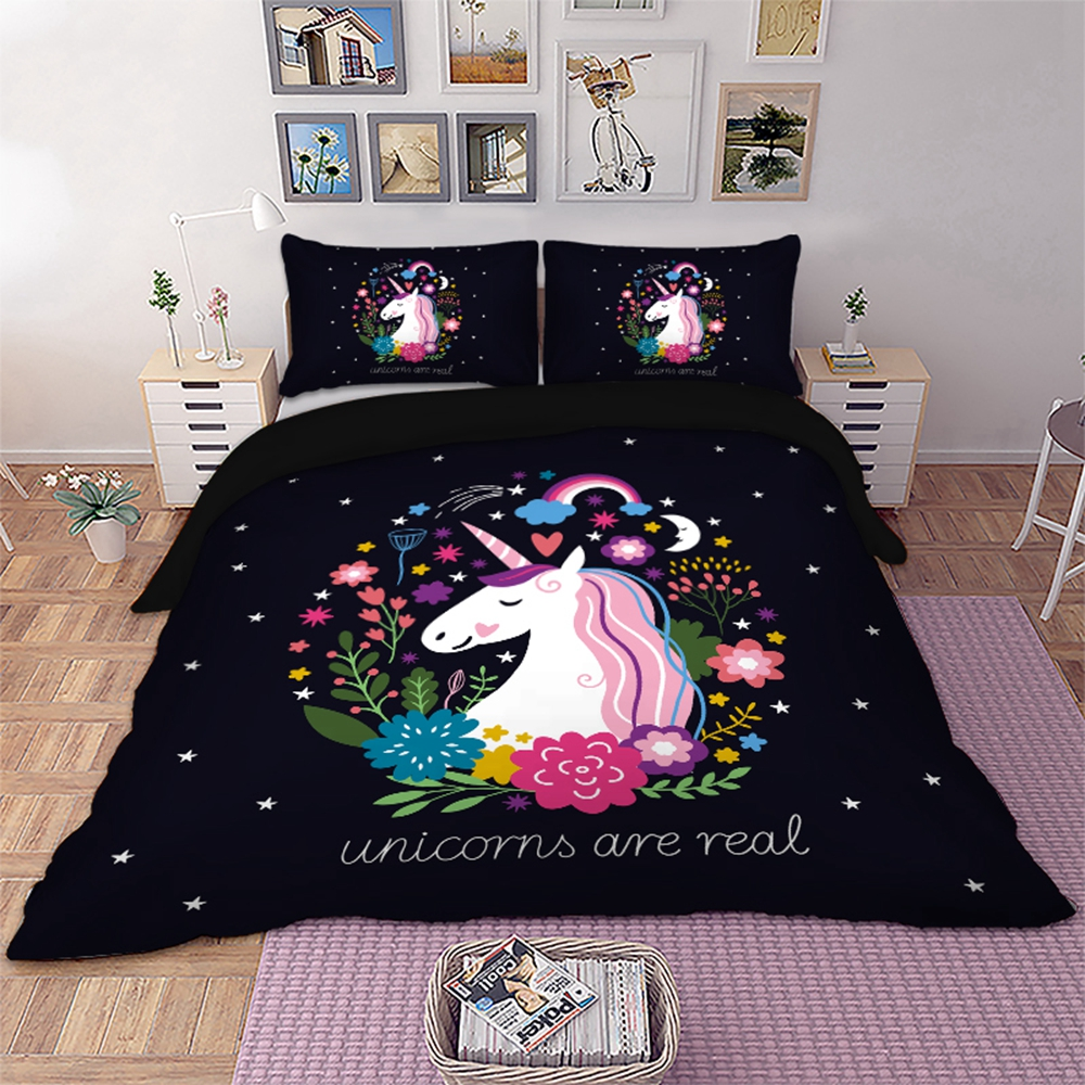 Unicorn Floral Bedding Set Black Color Twin Full Queen