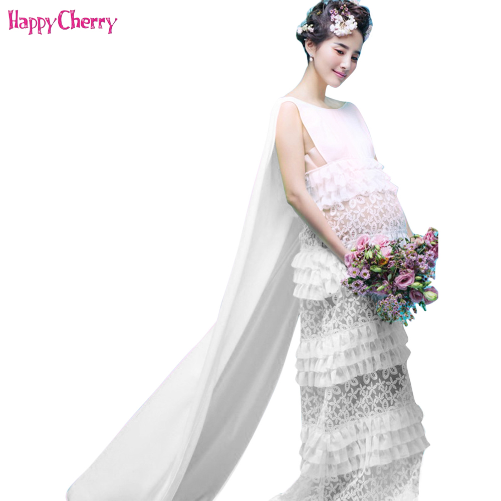 Maternity Dresses Pregnancy Elegant Fancy White Lace Maternity Photography Props Dresses Pregnant Women Photo Shoot Long Dress pregnancy photo shoot beach dress white chiffon flower maternity long dress pregnant photography props fancy dresses clothes