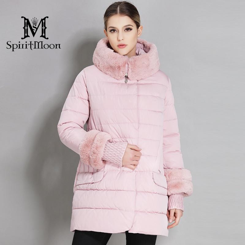 SpiritMoon 2018 Women's Down jackets With Rabbit fur collar Women's Hooded Warm   Parka   Thick Outwear Coat Plus Size 5XL 6XL