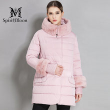 SpiritMoon 2018 Women's Down jackets With Rabbit fur collar Women's Hooded Warm Parka Thick Outwear Coat Plus Size 5XL 6XL(China)
