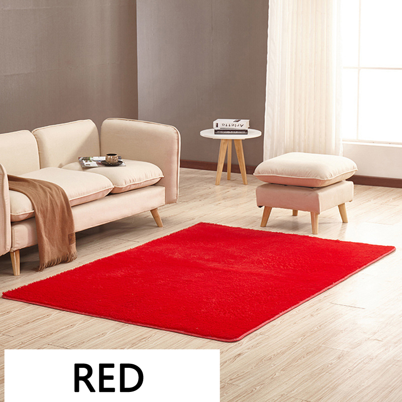 EHOMEBUY Red Rugs Short Haired Floor Carpets Fluffy Door Mats Anti Slip Modern Foot Mats  For Bedroom Living Room 14 Sizes