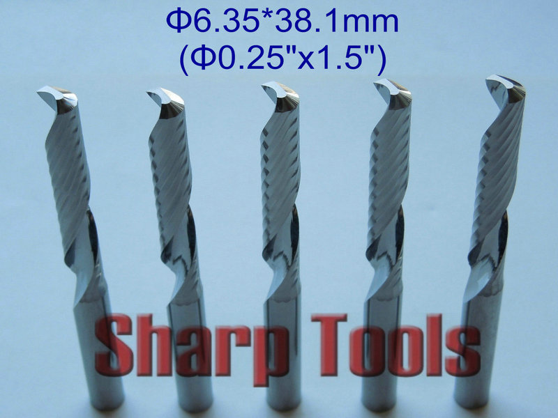 6.35*38.1mm Single Flute Sprial Bits Wood Router Tools Cutter, Tungsten Carbide CNC Tool Bits End Mill for Wood Acrylic Cutting 10pcs 3 175 20mm single flute spiral end mill cutter tungsten carbide tools wood engraving bits on cnc machine