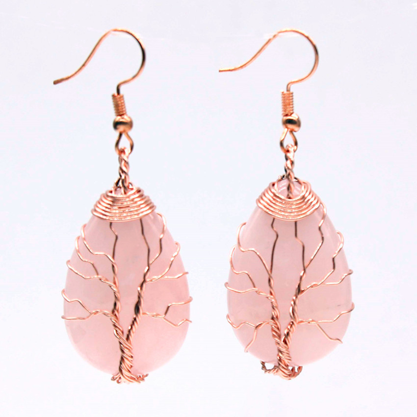 Kraft beads Rose Gold Color Wire Wrap Natural Rose Pink Quartz Pendant Water Drop Earrings Jewelry Sets in Jewelry Sets from Jewelry Accessories