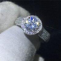 Ручной работы ювелирные изделия с камнем солитером кольцо из стерлингового серебра 925 Сона 2ct 5A камень циркон Обручение обручальное кольца