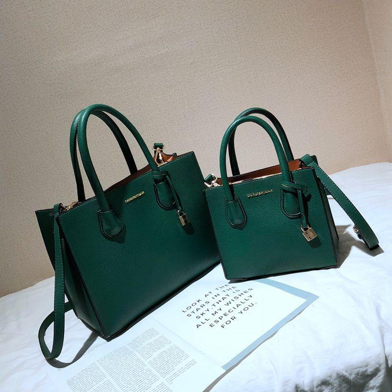Women Bag 2020 Luxury Handbags Designer Lock High Quality Pu Leather Shoulder Bag Green Crosssbody Bag OL Ladies Hand Bag Purse