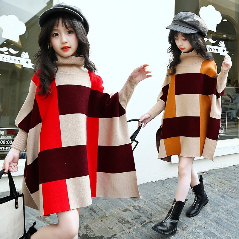 Winter Girls Clothes Sweater for Baby Girl 5 6 7 8 9 Years Children Knit Long Sleeve Pullovers Cotton Plaid Autumn Tops Teeanger 2017 autumn girls dresses 3 4 5 6 7 8 9 10 years long sleeve plaid dress for girl clothes cotton pattern baby children clothing