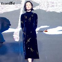 Autumn European Fashion Vintage High Collar Long Sleeve Slim Beaded Women Dresses Temperament Velvet Party Dress