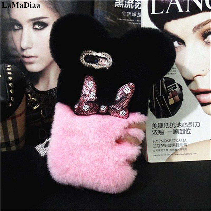Lovely Warm Case For <font><b>Xaomi</b></font> 8 9 SE <font><b>MAX2</b></font> 6X 5X Redmi 5A 6A 8A Note5A 6 7 8 Pro Luxury Fluffy Plush Rabbit Fur Hair Ball Back cover image