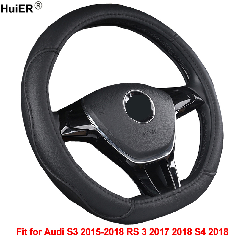 HuiER Car Steering Wheel Cover D Shape PU Leather For Audi S3 2015 2016 2017 2018 RS 3 2017 2018 S4 2018 D Type Auto Car Styling