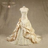Rose Moda Champagne Wedding Dress 3D Roses Cộng Với Kích Thước Wedding Dresses Lace Up Trở Lại Bất Hình Ảnh