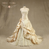Rose Moda Champagne Wedding Dress 3D Roses Plus Size Wedding Dresses Lace Up Back Real Photos