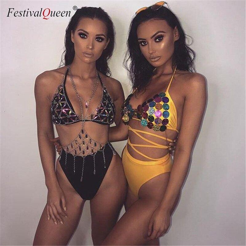 FestivalQueen Bling métal gland détails réservoir hauts Festival Rave vêtements été Sexy dos nu Rave corps chaîne plage hauts 2018 3