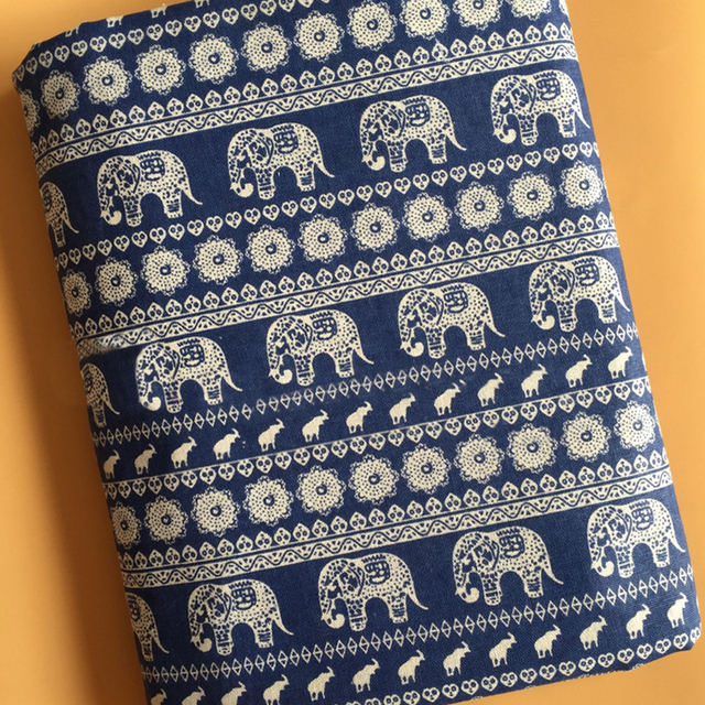 By Meter Ethnic Elephant Print Linen Material Bags Crafts Home