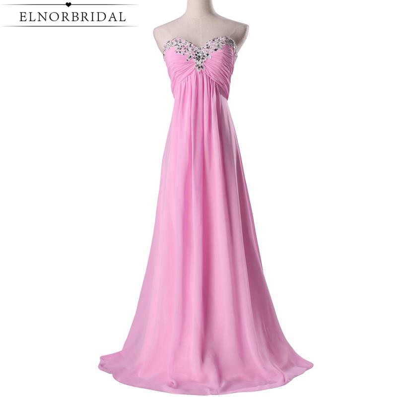 Pink Bridesmaid Dresses Cheap 2017 Beading Sweethear Robe Longue Formal Wedding Guest Dress Party Gowns For Prom