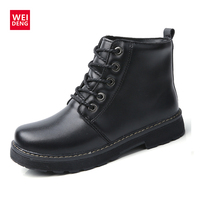 WeiDeng Classic Genuine Leather Martin Boots Fur Warm Plush Flats Winter Casual Wild Boots Women Ankle