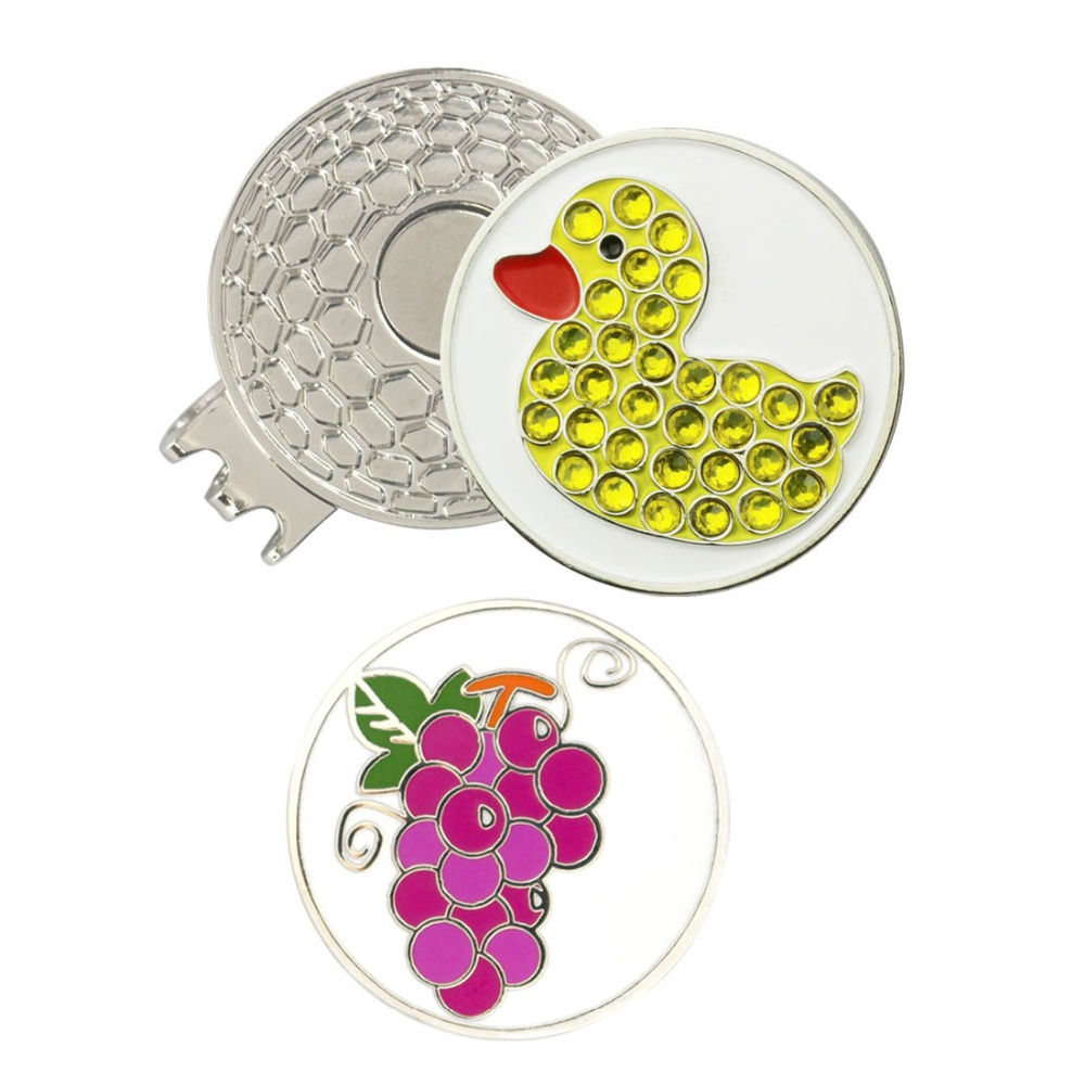 Crystal Duck and Grape Golf Ball Marker with Magnetic Hat Clip or Cap Clip with Blister  ...