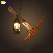 FUMAT Vintage Industrial Pendant Light Loft Wood Boat Lamp Bar Metal Lantern Study Art Wooden LED