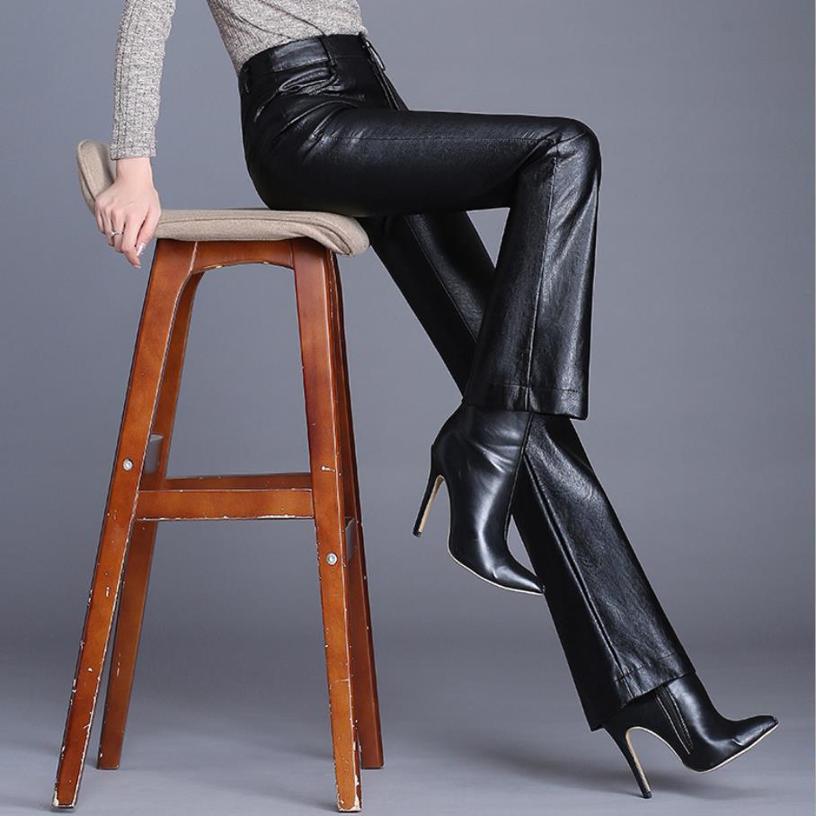 Autumn Women Leather Pants Women High Waist Pants Faux Leather Trousers Women Fashion Slim PU Flare Pants