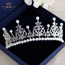 New High-end Nature Shell Pearls Brides Crown Headpieces European Princess Zircon Crystal Tiaras Hairbands Wedding Accessories