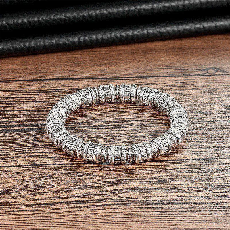 2018 Retro Tibetan Buddhism Men's Bracelet Six Words Of Mantra Bangle OM MANI PADME HUM Copper Alloy Bead Men's Women's Bracelet