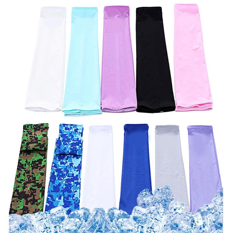 1Pair Ice Fabric UV Protection Breathable Arm Sleeves Running Fitness Basketball Sport Cycling Outdoor Summer Cold Arm Warmers