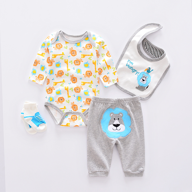 df75e43e121f Cute baby girl Clothing Sets cotton Fashion cartoon baby clothes Newborn  suits 4pcs long sleeve infant rompers+pants+socks+Bib