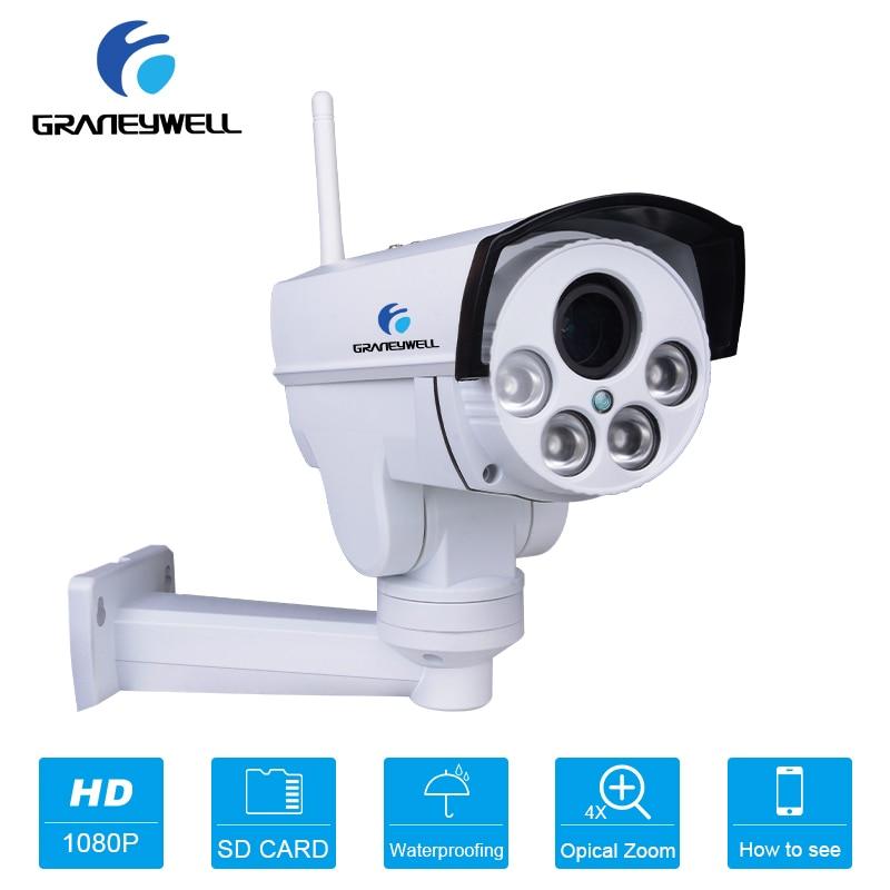 GRANEYWELL HD 1080 P ip-камера наружная водостойкая PTZ Автоматическая круиз wifi камера 4X оптический зум Беспроводная ip-камера видеонаблюдения