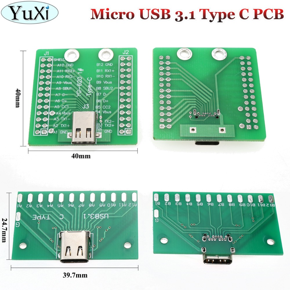 YuXi USB3.1 / USB 3.1 Type-C Connector 24P 24Pin Female Socket Test Board With PCB Board 12P+12P