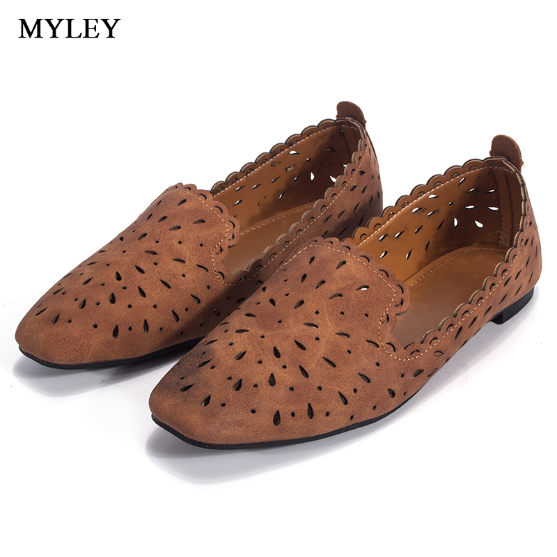 MYLEY 2017 Women Flats Hollow Out Comfortable Loafers Ladies Shoes Female Casual Shoes Chaussure Slip on Ballet Footwear odetina 2017 new summer women ankle strap ballet flats buckle hollow out flat shoes pointed toe ladies comfortable casual shoes