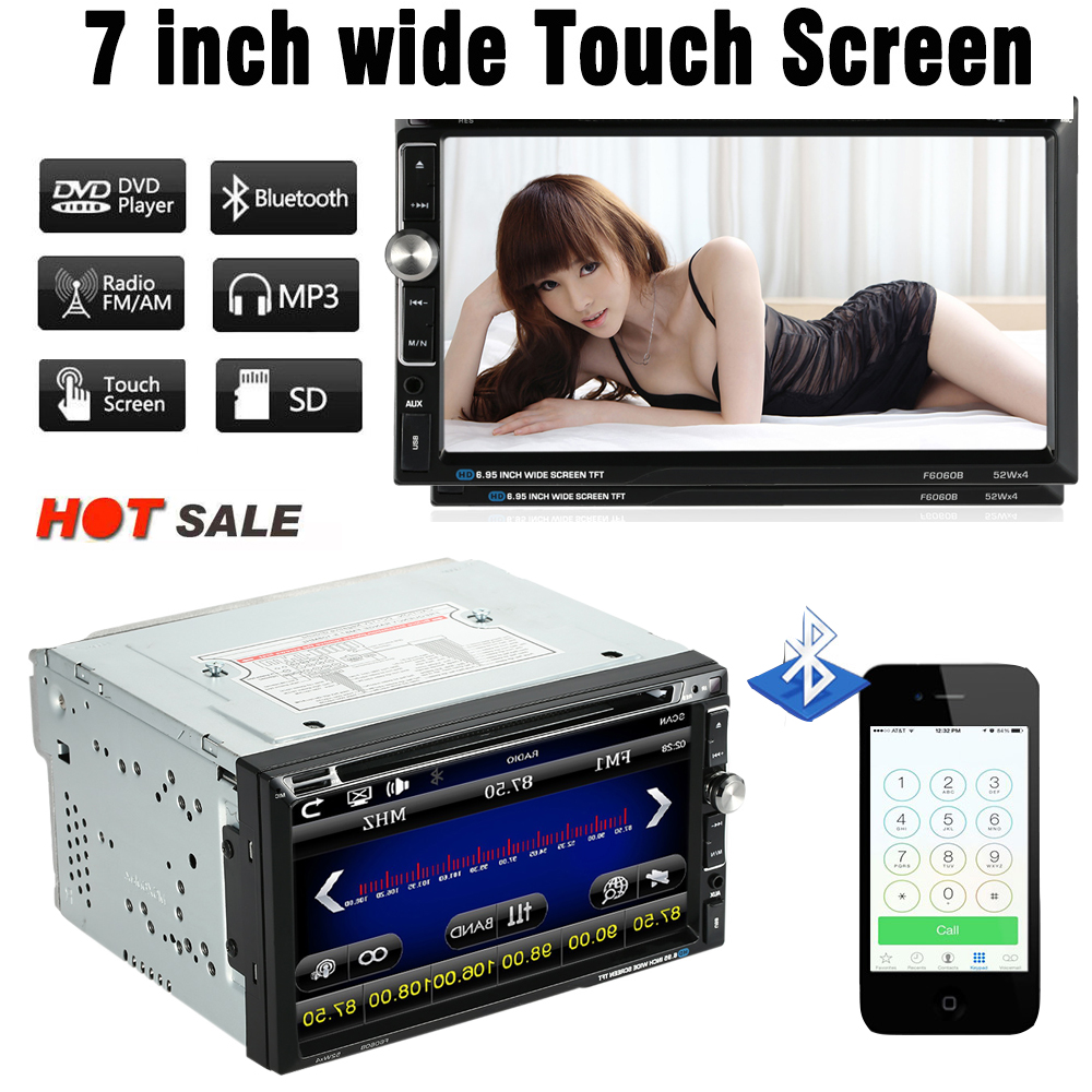 """""""7"""""""" Универсальный 2 DIN HD Автомобильный стерео DVD плеер Bluetooth с USB/TF карты с FM-AUX вход Радио развлечения Мультимедиа"""""""
