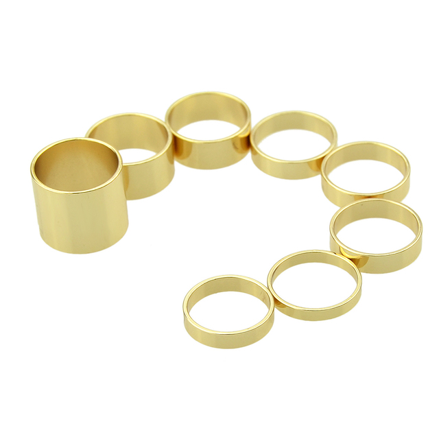 Cuff ring set in minimalistic style. Gold color