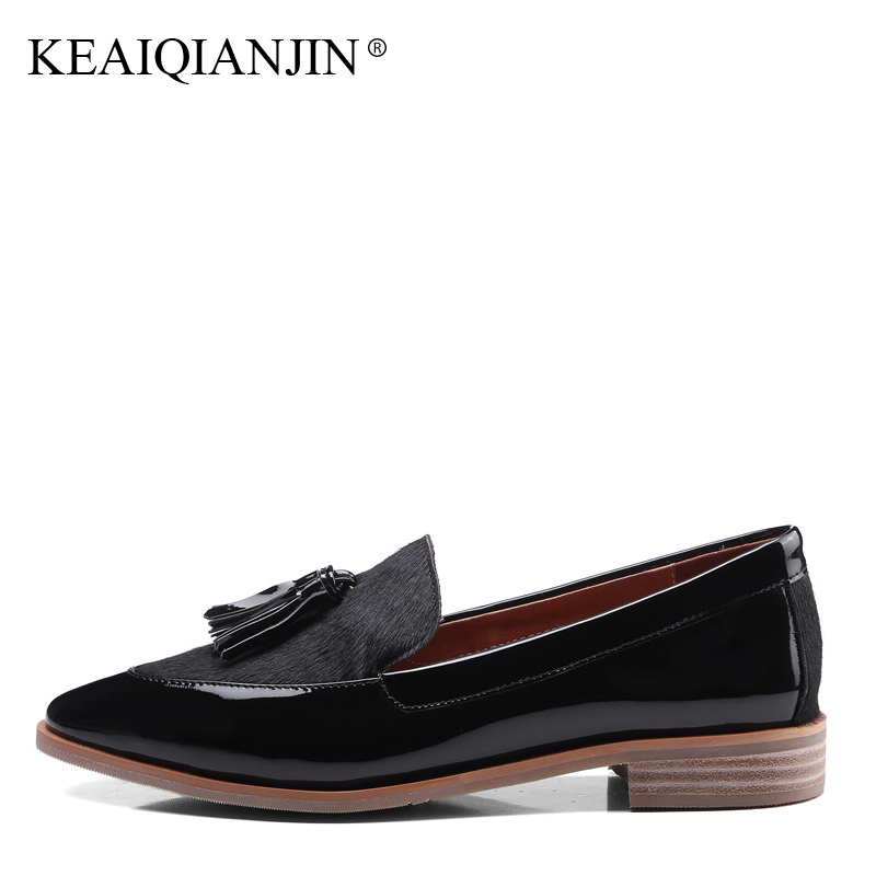 KEAIQIANJIN Woman Fringe Platform Shoes Fashion Spring Autumn Black Red Horsehair Flats Round Toe Casual Genuine Leather Loafers pjcmg fashion spring autumn pointed toe black red lace up flats round toe genuine leather oxfords men dress wedding shoes