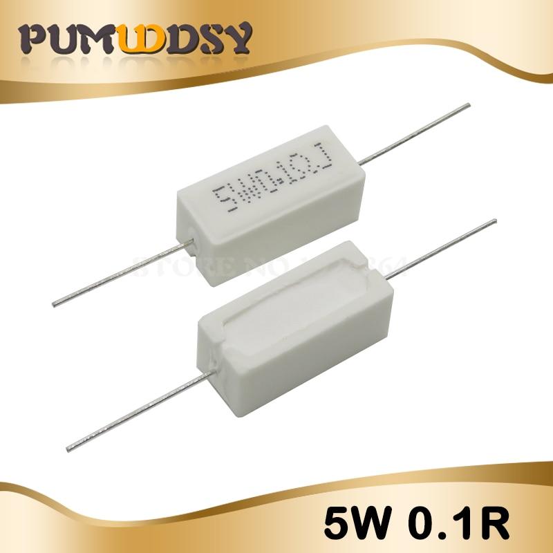 10pcs 5W 0.1 Ohm Cement Resistance 0.1R 0.1ohm