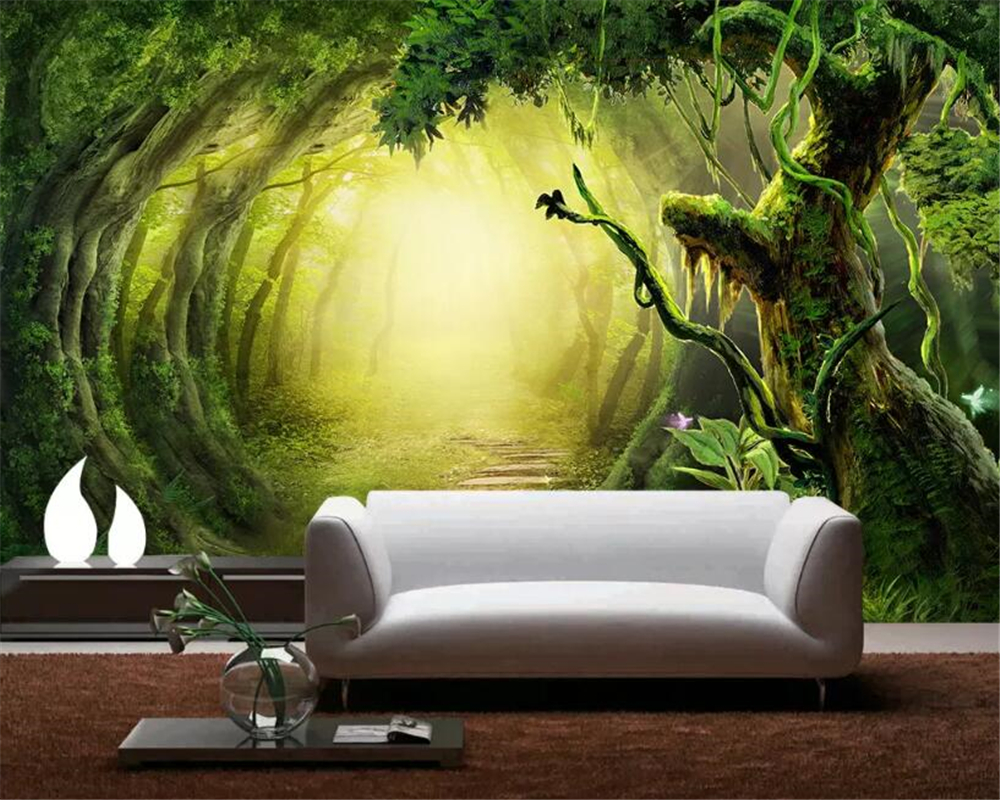 Beibehang Custom Photo Wallpaper fantasy woods trail Wall Mural Wallpaper For Living Room Bedroom Background wall 3D wallpaper in Wallpapers from Home Improvement