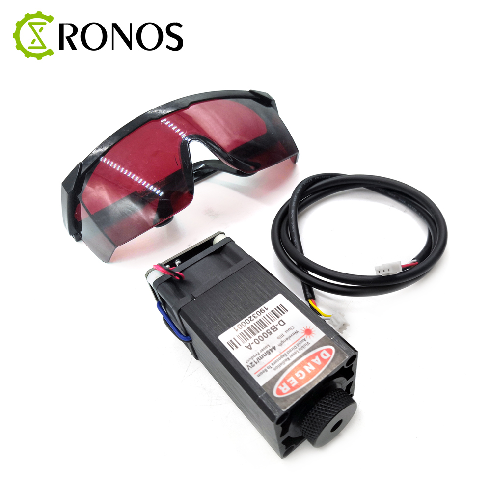 5.5W Cutting Laser High Power Engraving 5500mW Laser Head Blue Violet Cutting Laser Module PMW Module + Glasses