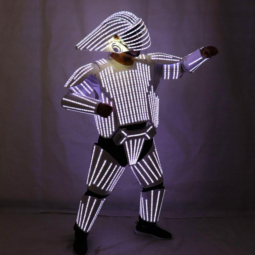 Nouveau Style blanc LED Robot Costumes, LED lumières Costumes vêtements, Star Wars soldats blancs Cosplay performance vêtements