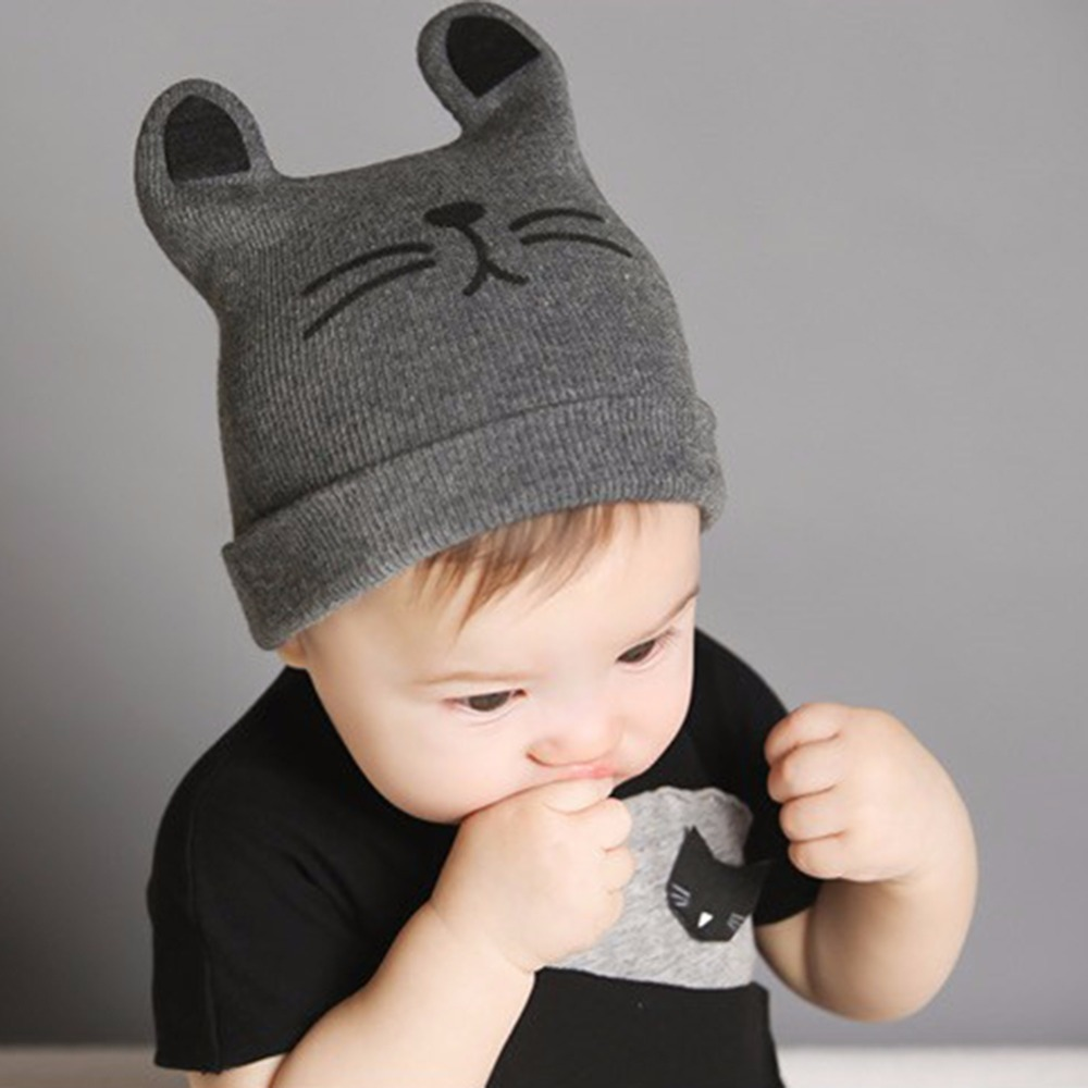 Baby Hats Newborn Cartoon Knitting Cap Toddler Kids Boys Girls Cat Ear Beanie Cap Infant Autumn Winter Warm Hat free shipping 200pcs lot fashion lady girls winter warm knitting wool cat ear beanie ski hat cap