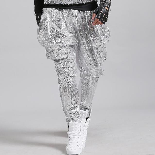 Stage personality men sequins pants harem pant men feet trousers singer dance rock fashion pantalon homme street novelty silver 2