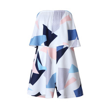 VITIANA Women Plus size Off Shoulder Print Beach Jumpsuit Romper Sleeveless Short Overalls Sexy Backless Summer Playsuit