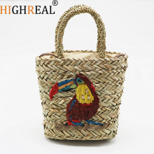 New Bohemian Beach Bag for Women Cute Handmade Straw Bags Summer Grass Handbags Basket Bag Travel Tote