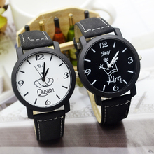 New Black And White Lovers Watch Female Soft Belt Retro Stud