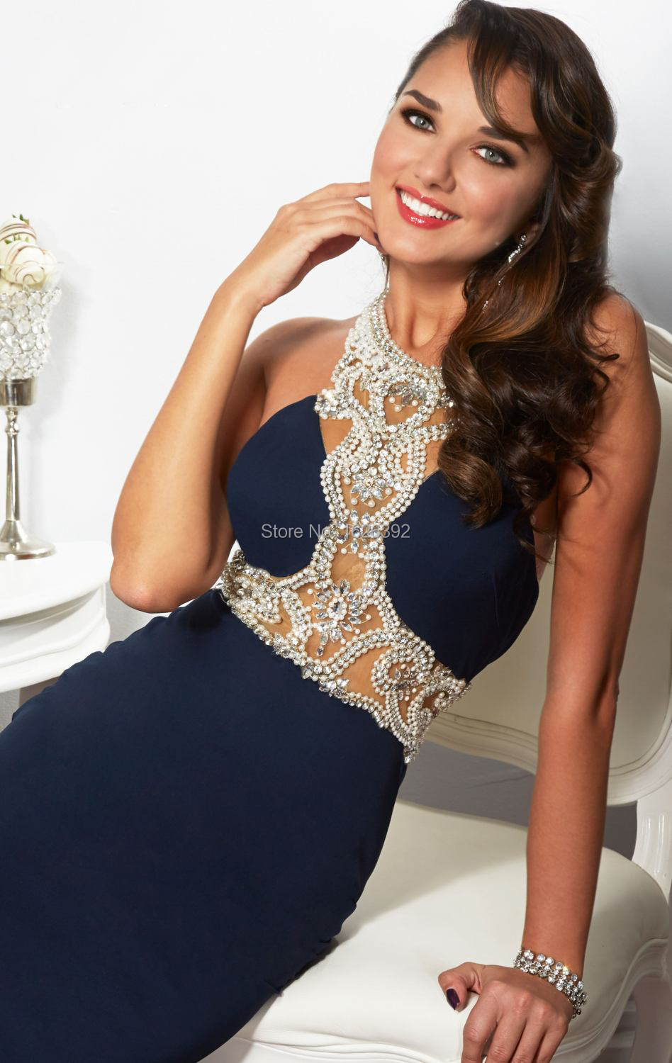 Best Sale Exquisite Crystal Beaded Navy Blue Mermaid Dresses Women Formal  Evening Gown Halter Backless-in Evening Dresses from Weddings   Events on  ... 133c53508