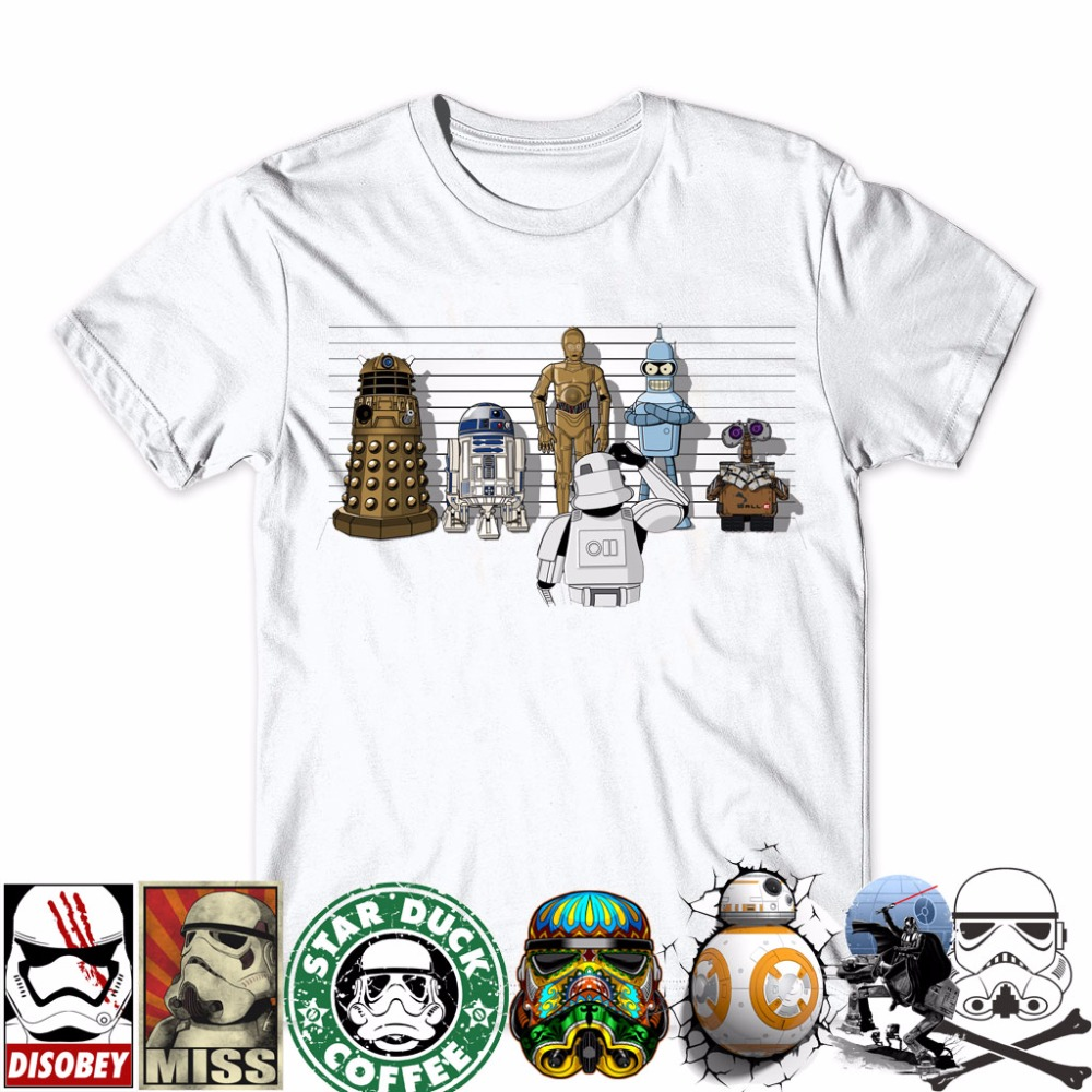 2016 Creative Droids Printed T Shirt Robot Shirt Boy Novelty Men S Sleeve T Shirt Tops