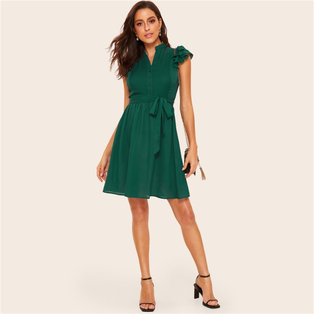 Emerald Green Pleated Dress